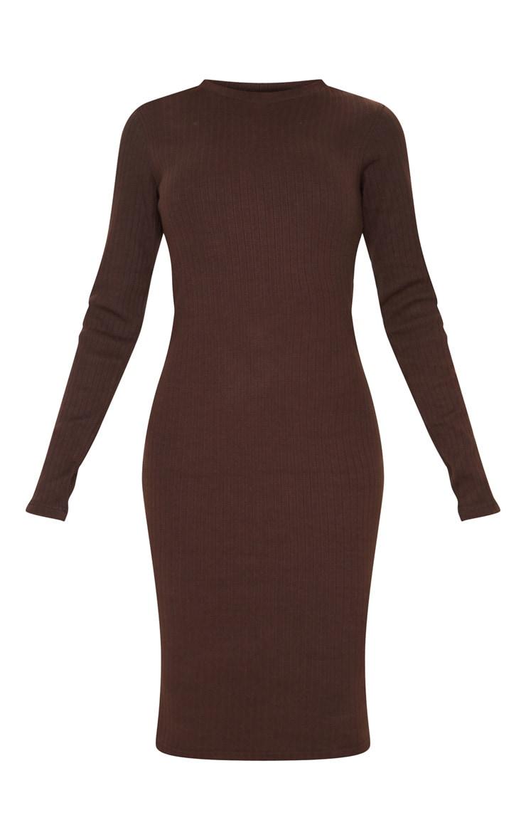 Tall Chocolate Brown Knitted Long Sleeve Midi Dress 4