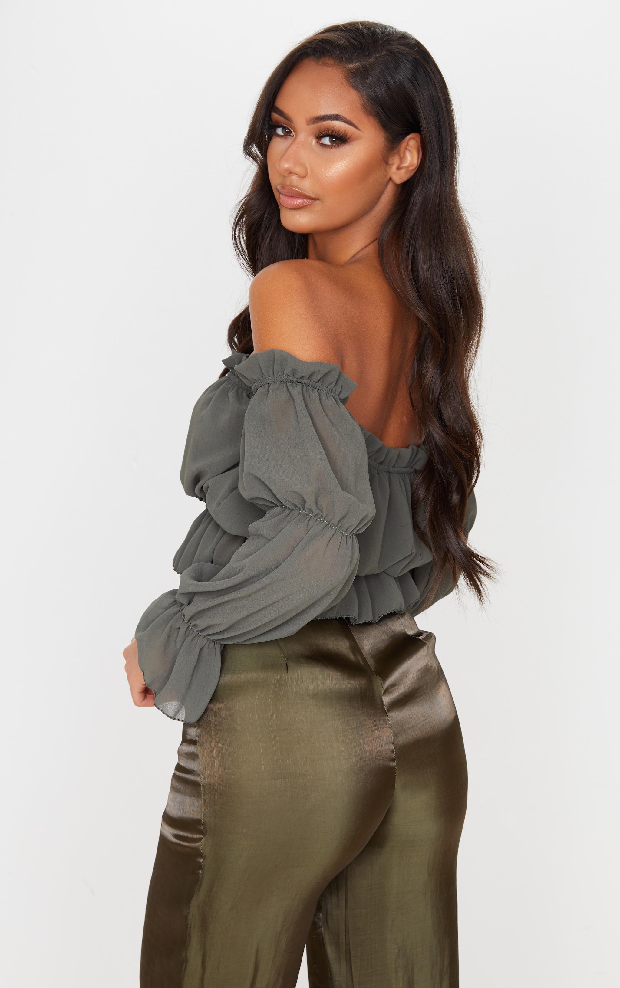 Khaki Woven Ruffle Bardot Flared Sleeve Blouse 2