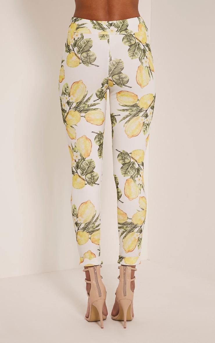 Farren White Lemon Print Cigarette Trousers 5