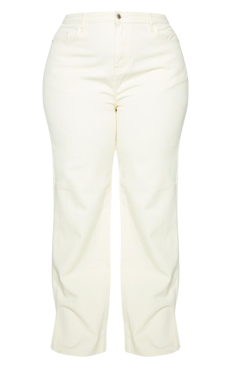 Plus Ecru Split Hem Jeans 5