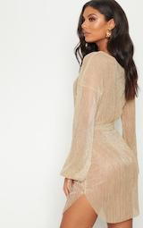 Gold Plisse Balloon Sleeve Sheer Shift Dress 5