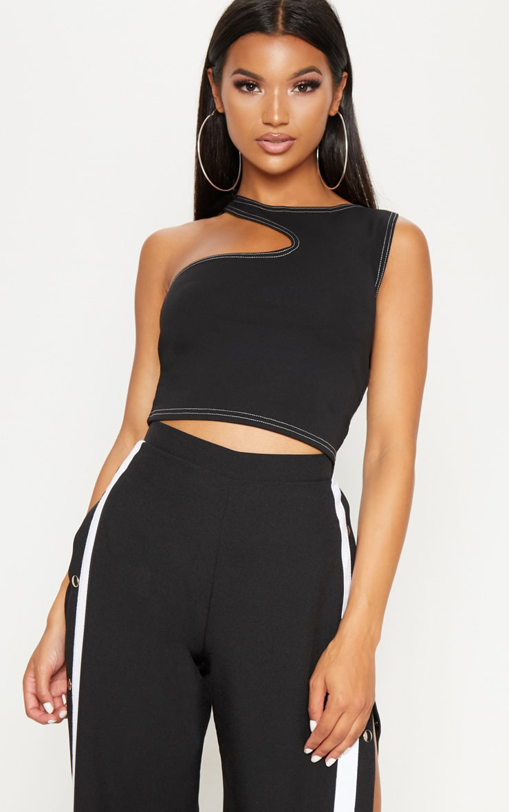 Black Cut Out Contrast Stitching Crop Top