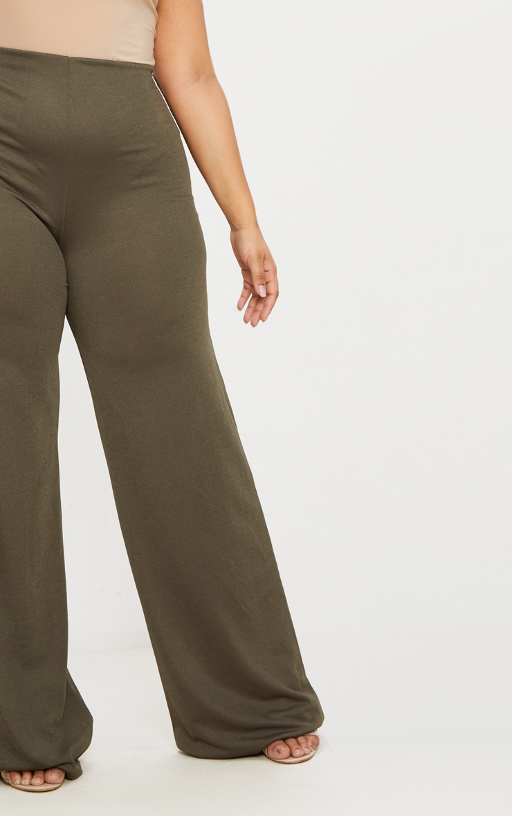 Plus Khaki High Waisted Wide Leg Pants 5