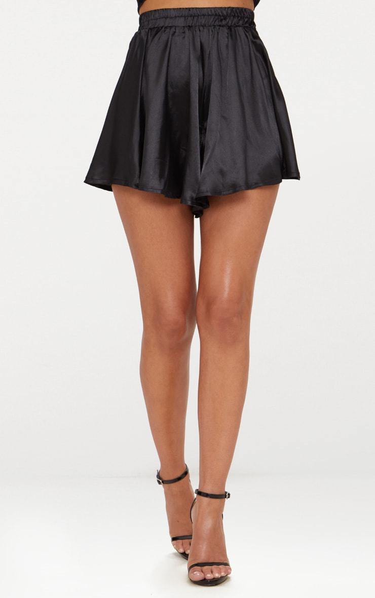 Petite Black  Floaty Satin Shorts 2