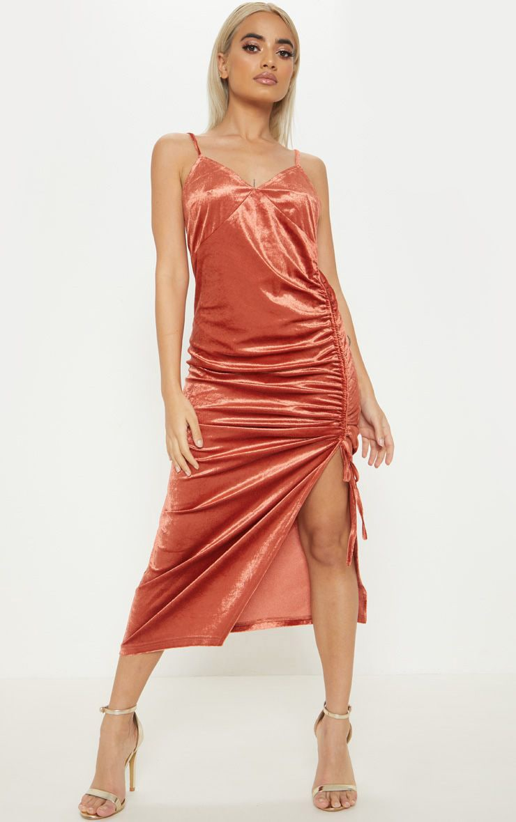 b50c928e8801 Petite Rust Velvet Ruched Side Strappy Midi Dress image 1