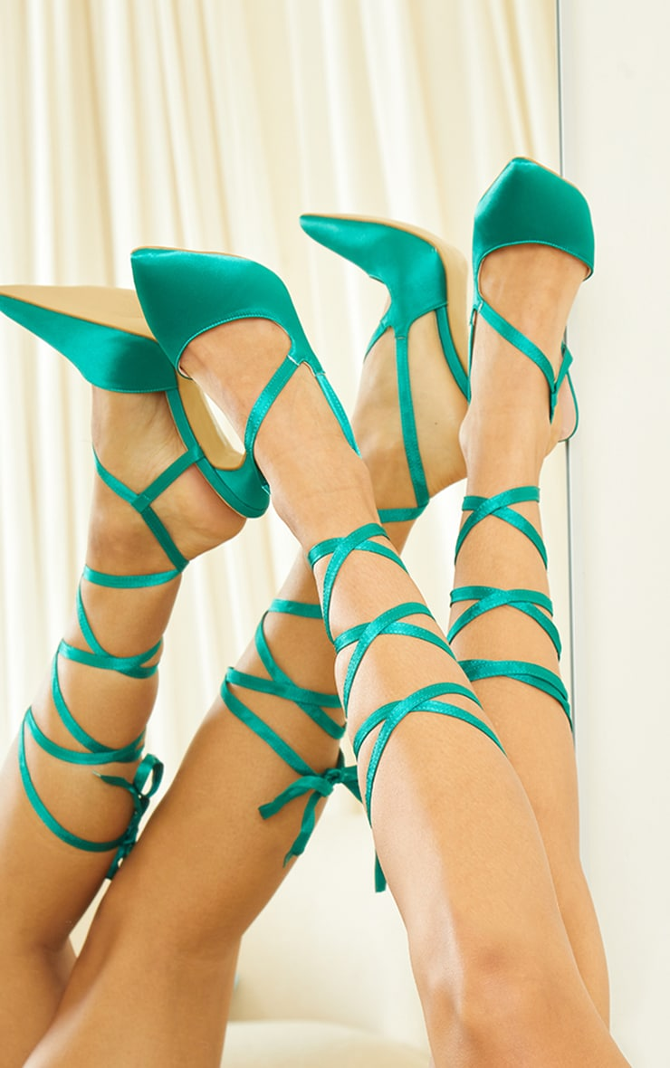 Green Satin Lace Up Court Shoes 2