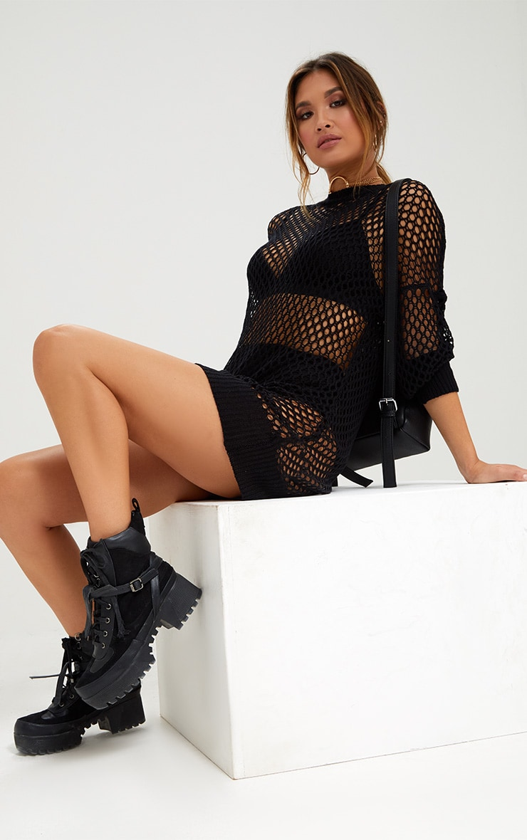 Black Mesh Crochet Jumper Dress 1