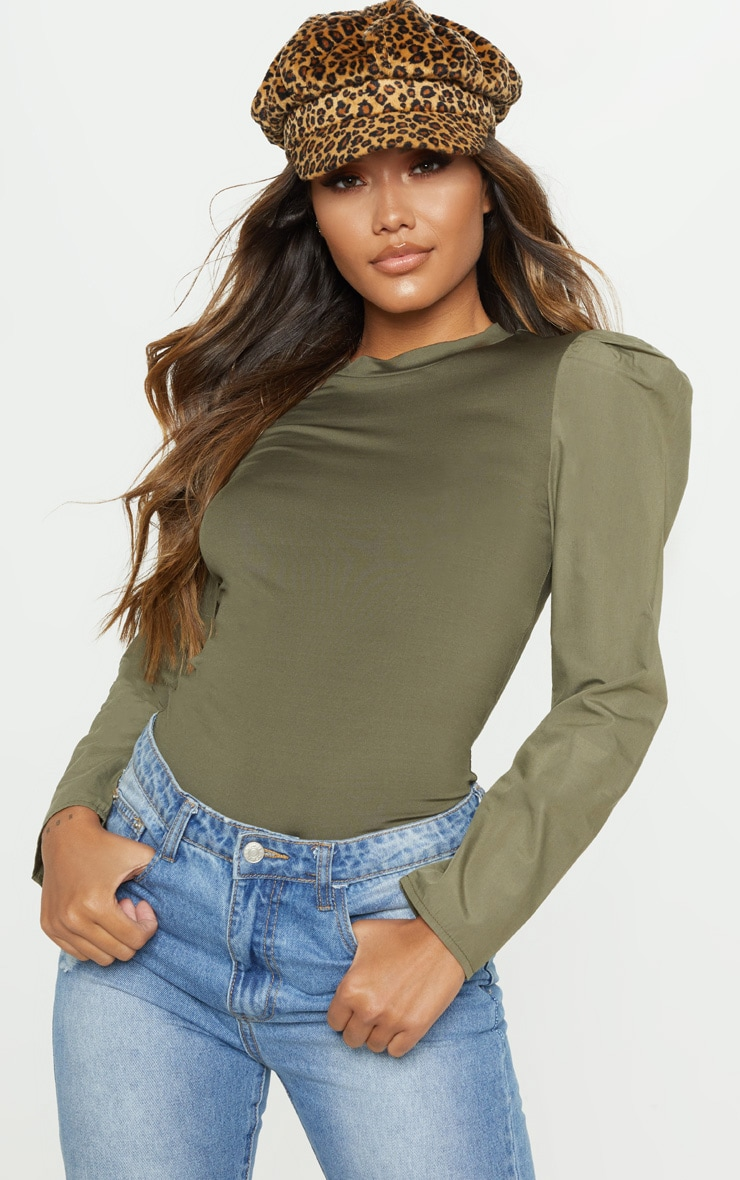 Khaki Long Sleeve Puff Shoulder Top 1