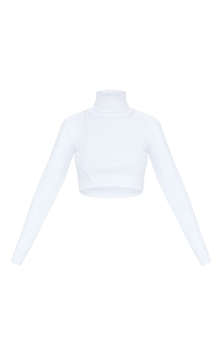 White Structured Rib High Neck Stitch Detail Long Sleeve Crop Top 5