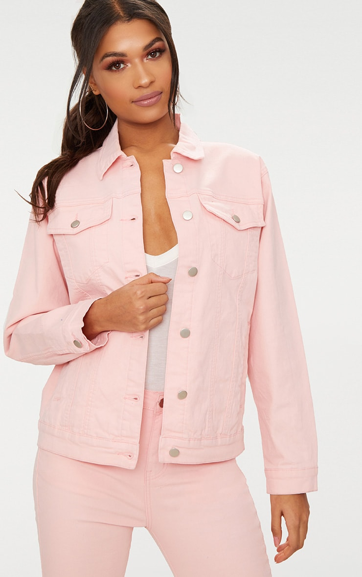 Baby Pink Distressed Boyfriend Fit Denim Jacket