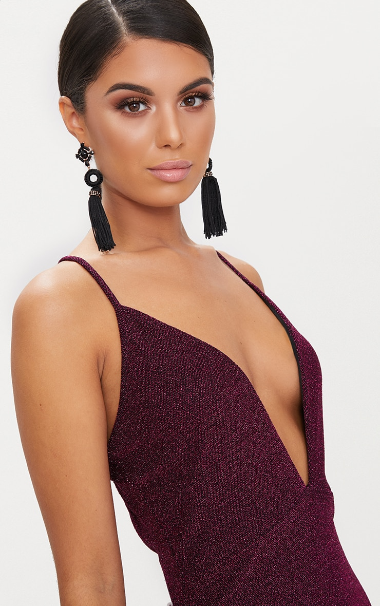 Fuchsia Glitter Strappy Plunge Extreme Split Midi Dress 5