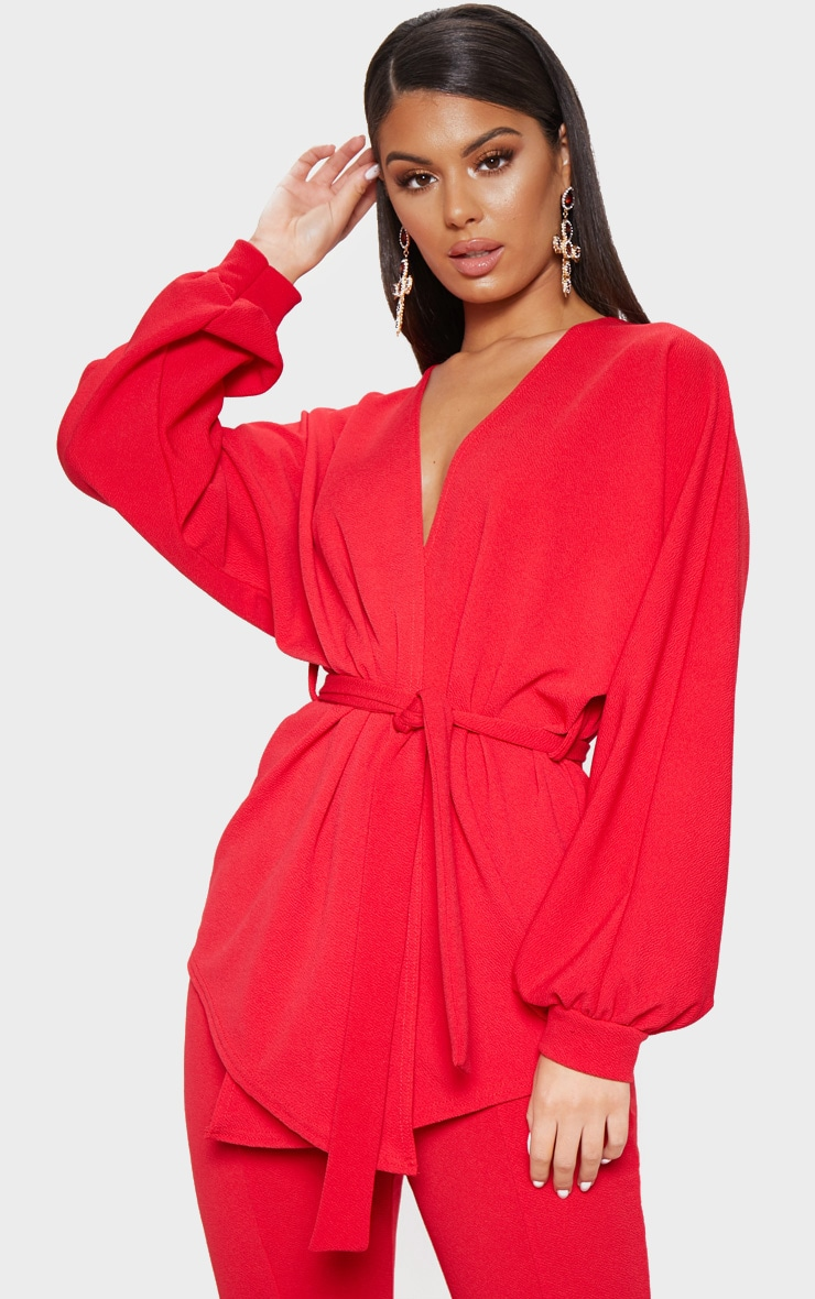 Red Oversized Sleeve Belted Blazer  1