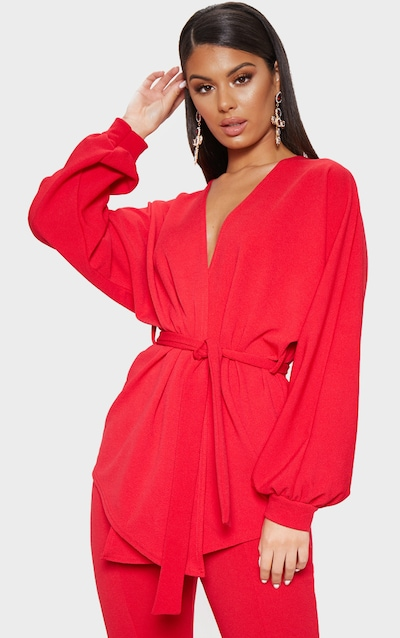 Red Oversized Sleeve Belted Blazer b7b9e1691