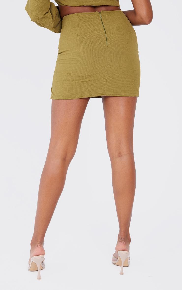 Olive Textured Woven Split Leg Mini Skirt 3