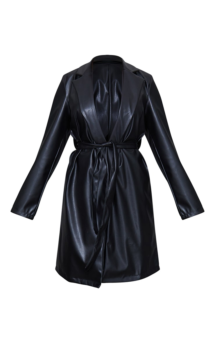 Black PU Belted Midi Trench 5