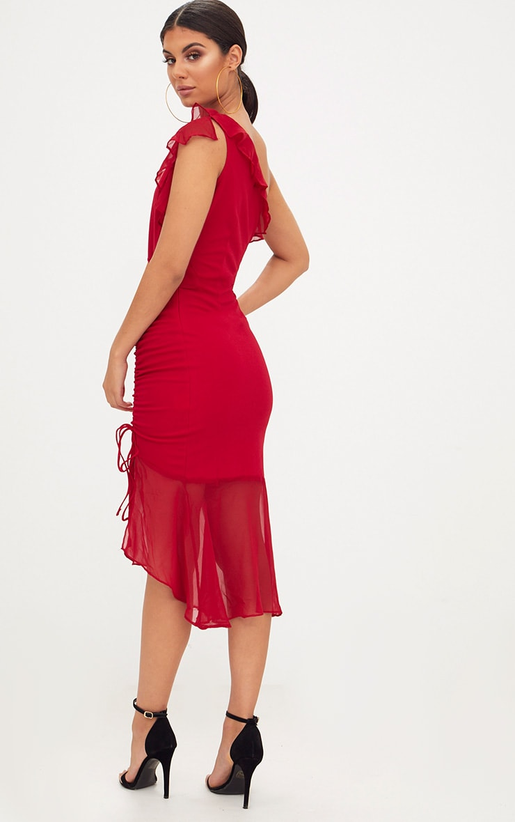 Red Ruched Detail Frill One Shoulder Midi Dress 2