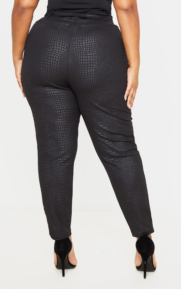 Plus Black Croc Print D Ring Belted Skinny Trousers 4