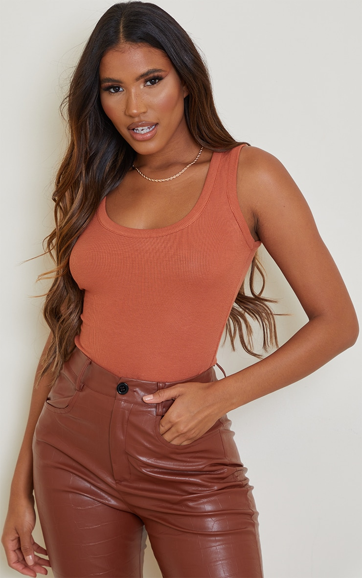 Brown Fitted Soft Rib Vest 1