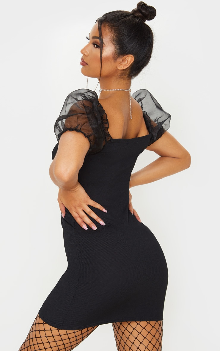 Black Organza Puff Sleeve Ribbed Bodycon Dress 2