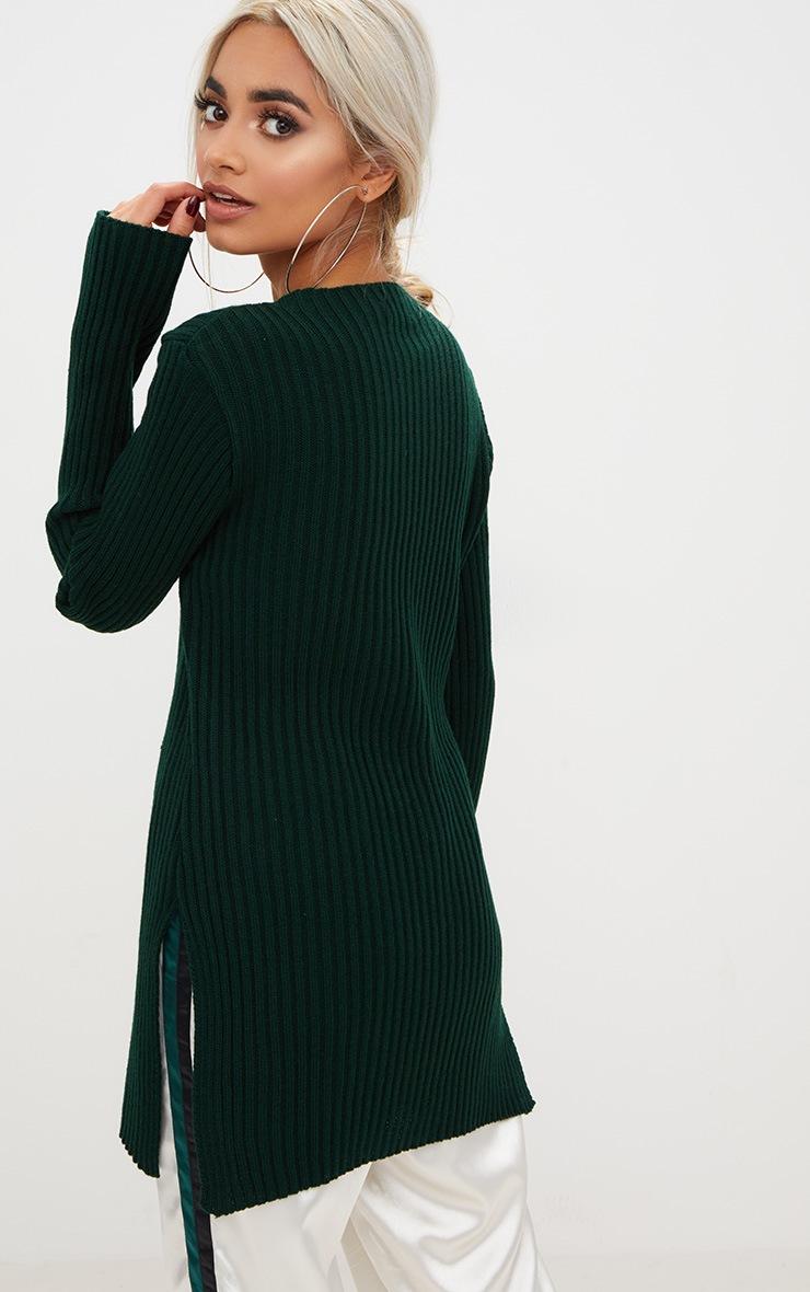 Forest Green Round Neck Side Split Knitted Jumper 2