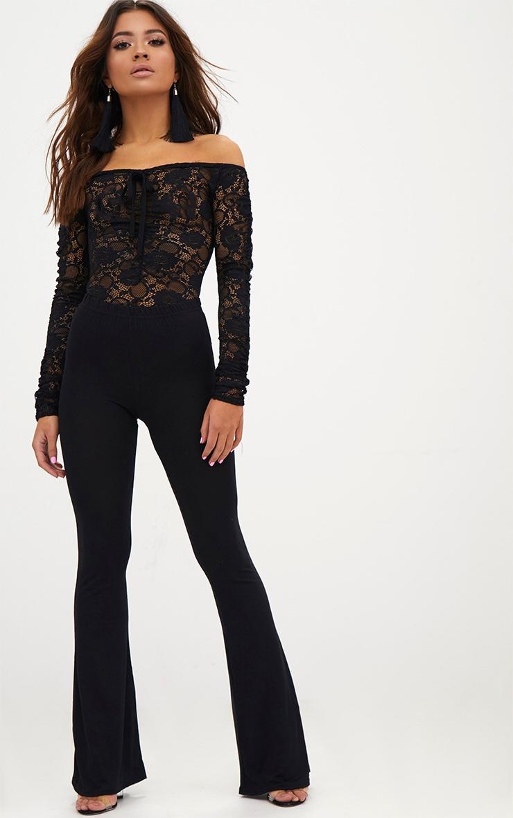 Petite Black Lace Ruched Sleeve Bodysuit 5