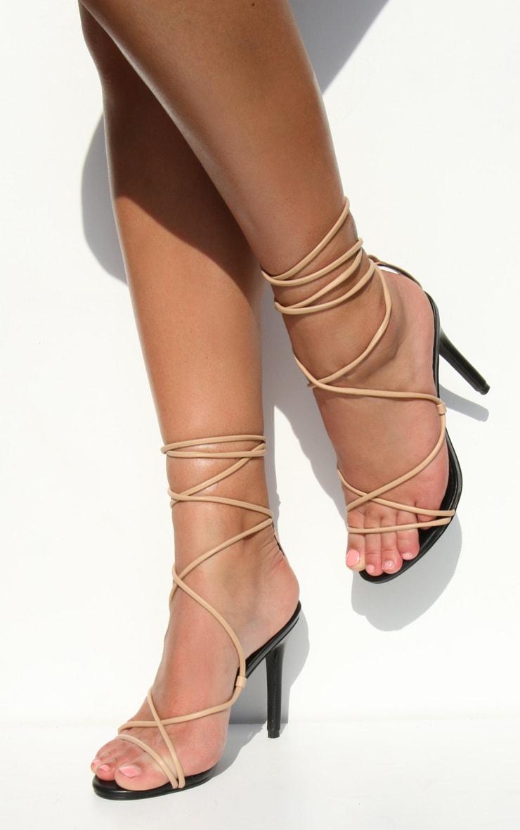 Nude Contrast PU Strappy Stiletto Heel 1