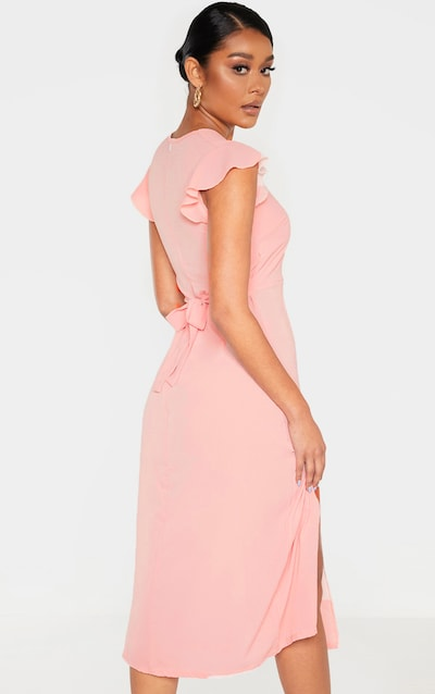 Dusty Pink Plunge Frill Sleeve Split Detail Midi Dress