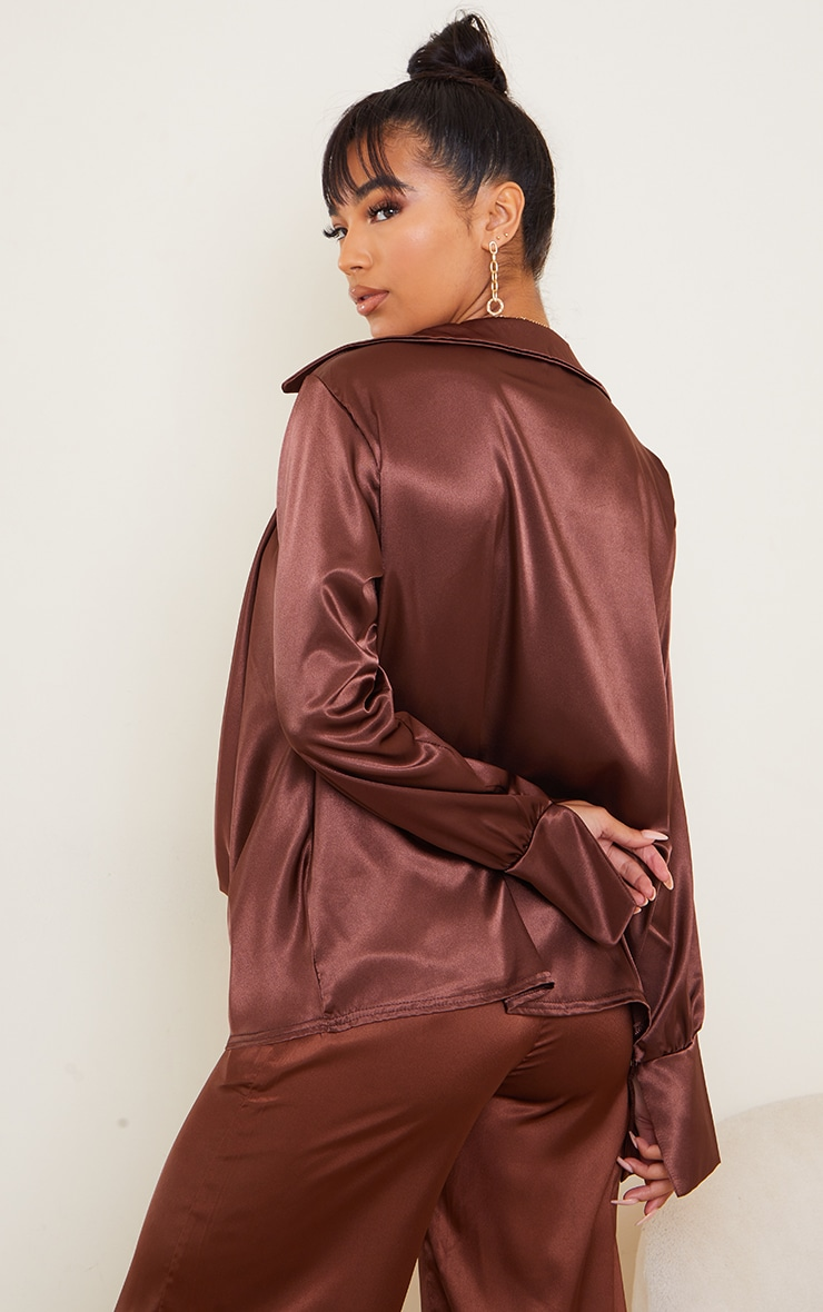 Chocolate Extreme Cowl Long Line Satin Shirt 2