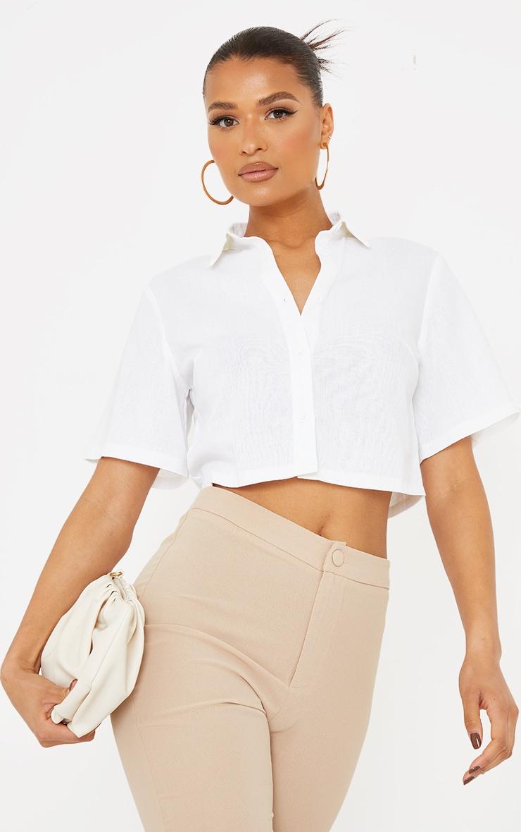 White Linen Feel Short Sleeve Crop Shirt 1