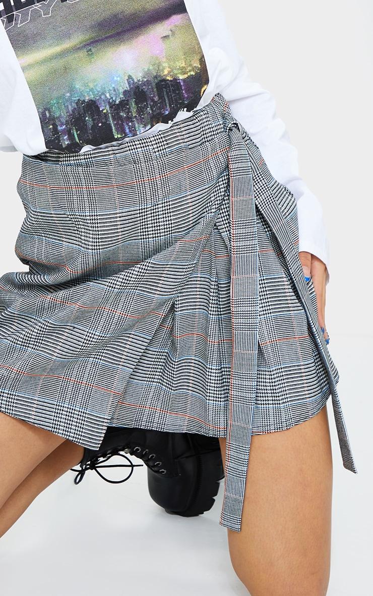 Grey Woven Check Wrap Skater Skirt 5