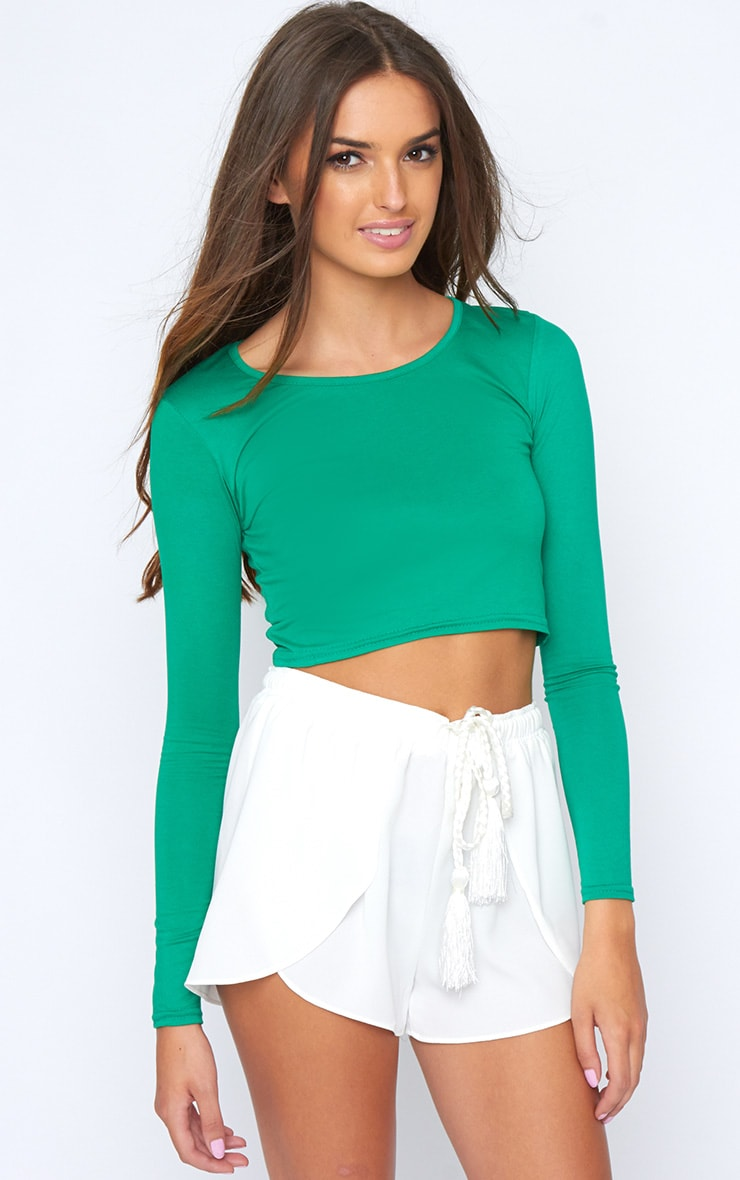 MYLA GREEN LONG SLEEVE CROP TOP 1