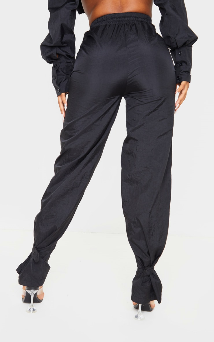 Black High Waisted Pocket Cuff Detail Trouser 4