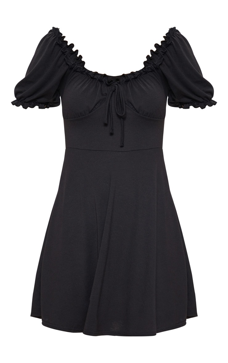 Black Ruched Cup Frill Sleeve Skater Dress 3