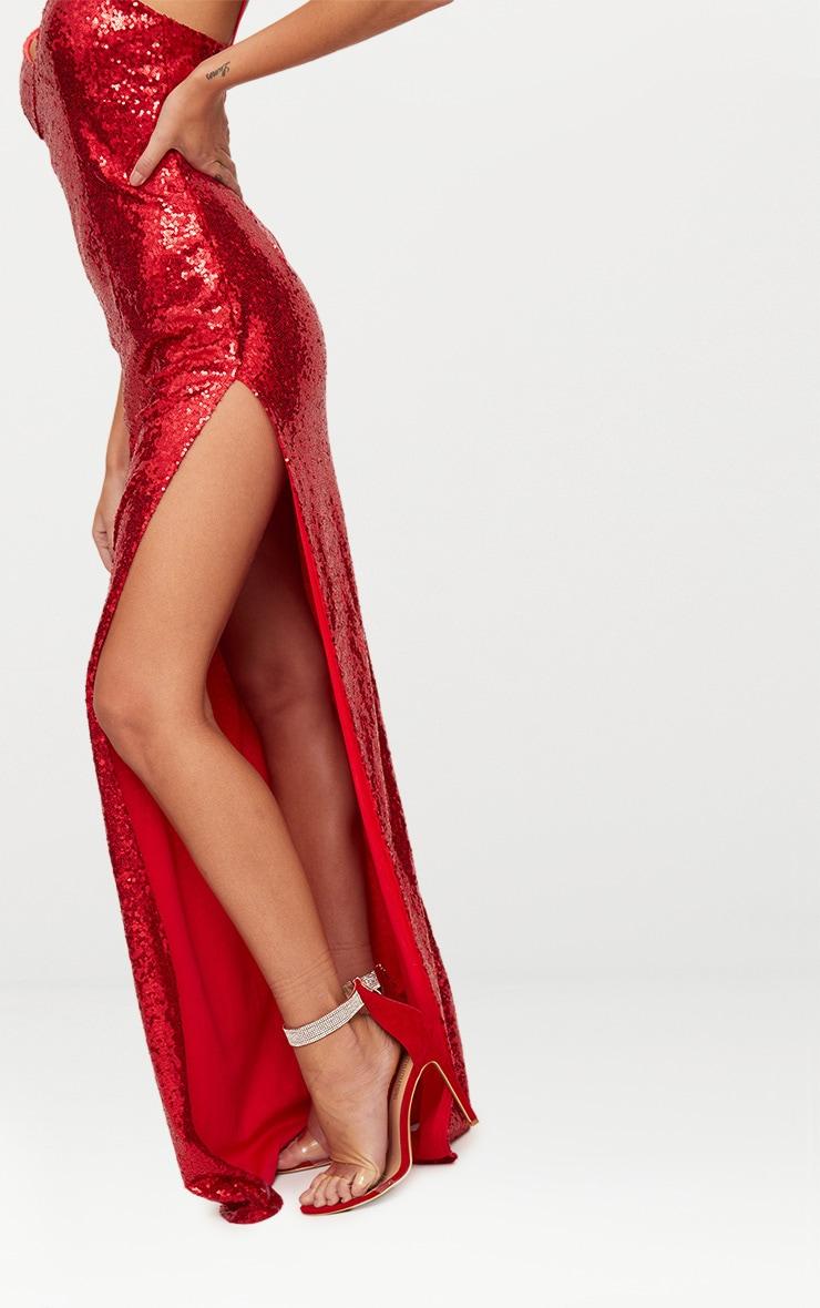 Red Sequin Extreme Split Plunge Maxi Dress 6