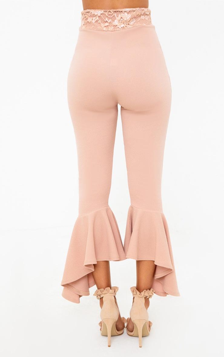 Nude Corset Waist Asymmetric Flare Trousers  4