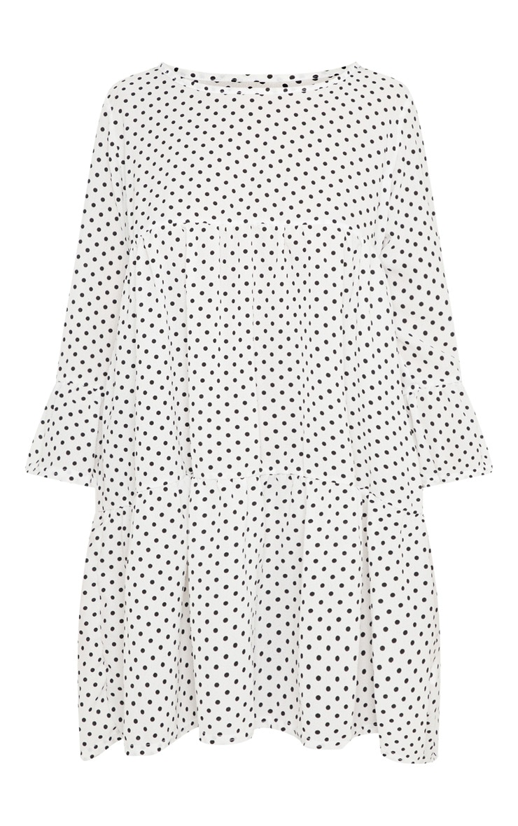 Petite White Polka Dot Tiered Smock Dress 3