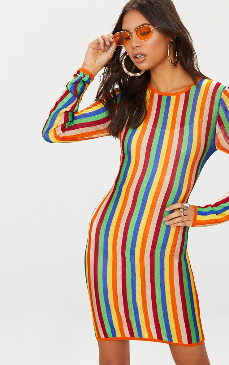 Multi Rainbow Sheer Knitted Dress Pretty Little Thing usTKnTl