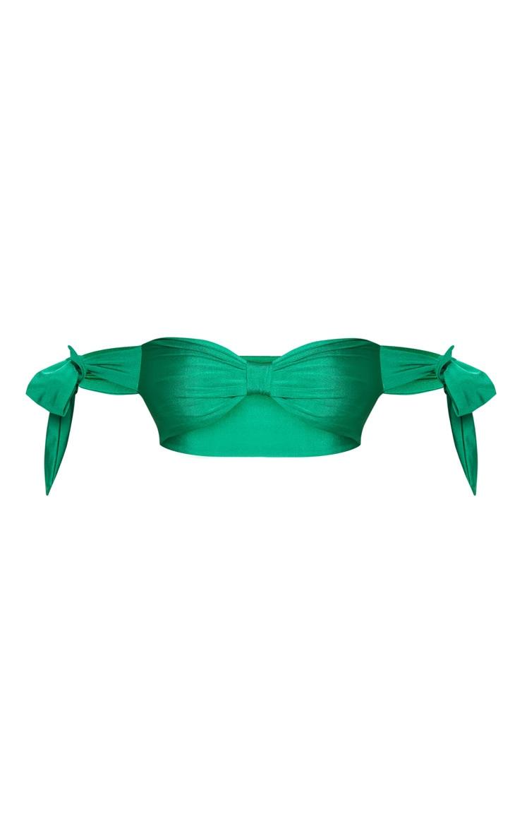 Petite Bright Green Tie Sleeve Bikini Top 3