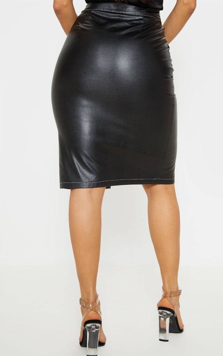 Black Faux Leather Contrast Stitch Midi Skirt 4