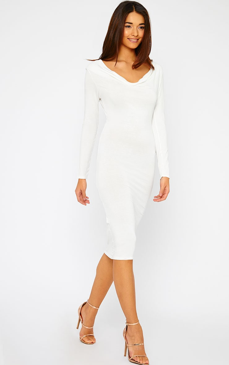 Lise Cream Jersey Cowl Neck Midi Dress 3