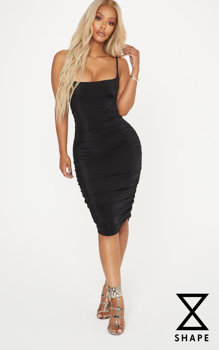 Shape Black Slinky Ruched Bodycon Dress