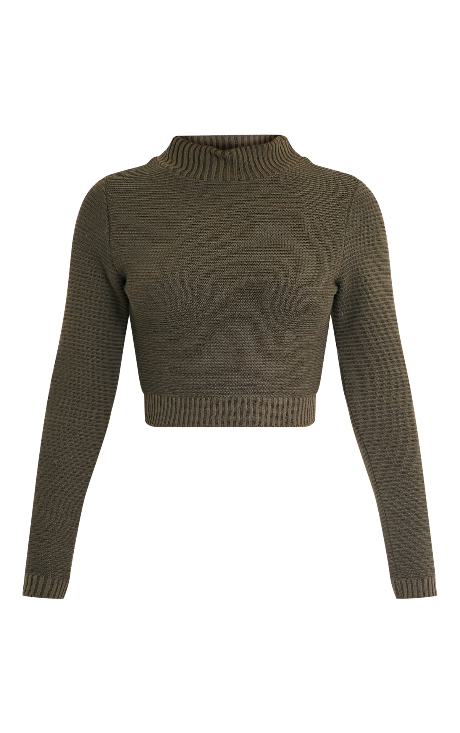 Khaki Ribbed Crop Knitted Jumper  3