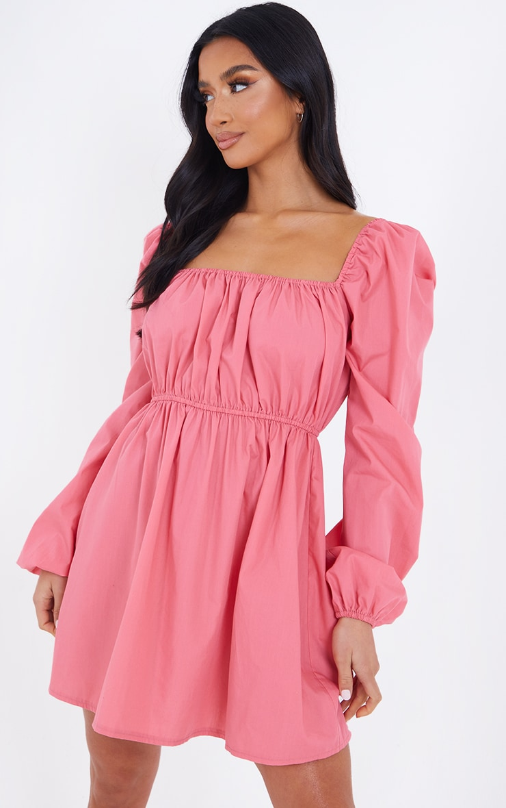 Petite Coral Ruched Balloon Sleeve Smock Dress 1