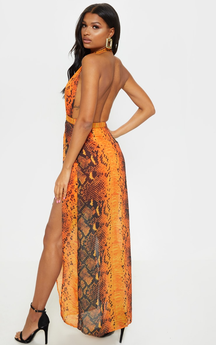 Leala Orange Snake Print Maxi Dress 1