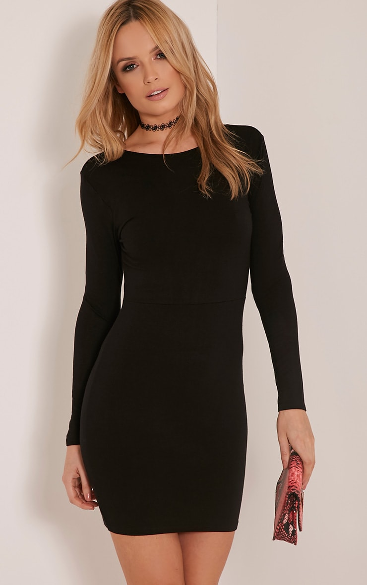 Marcy Black Strappy Back Long Sleeve Bodycon dress 8
