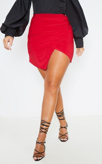 Scarlet Drape Detail Split Mini Skirt