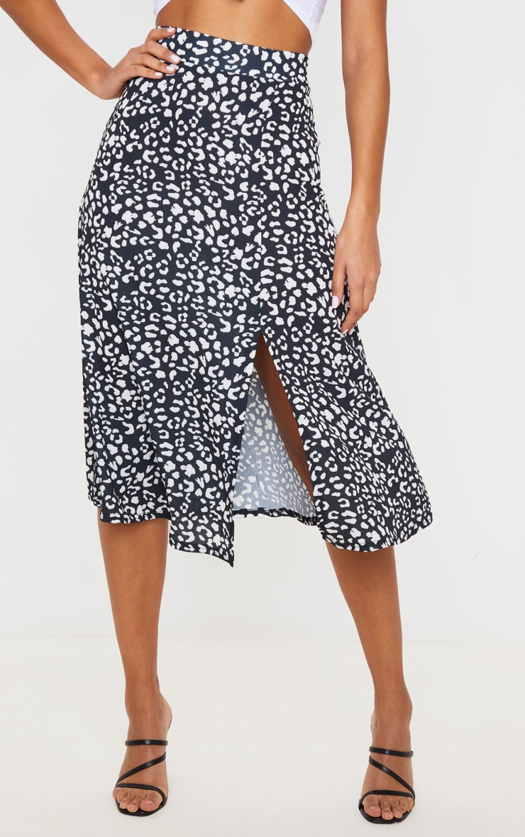 Black Leopard Print Floaty Midi Skirt 2