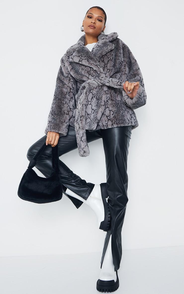 Grey Snake Print Faux Fur Coat 1