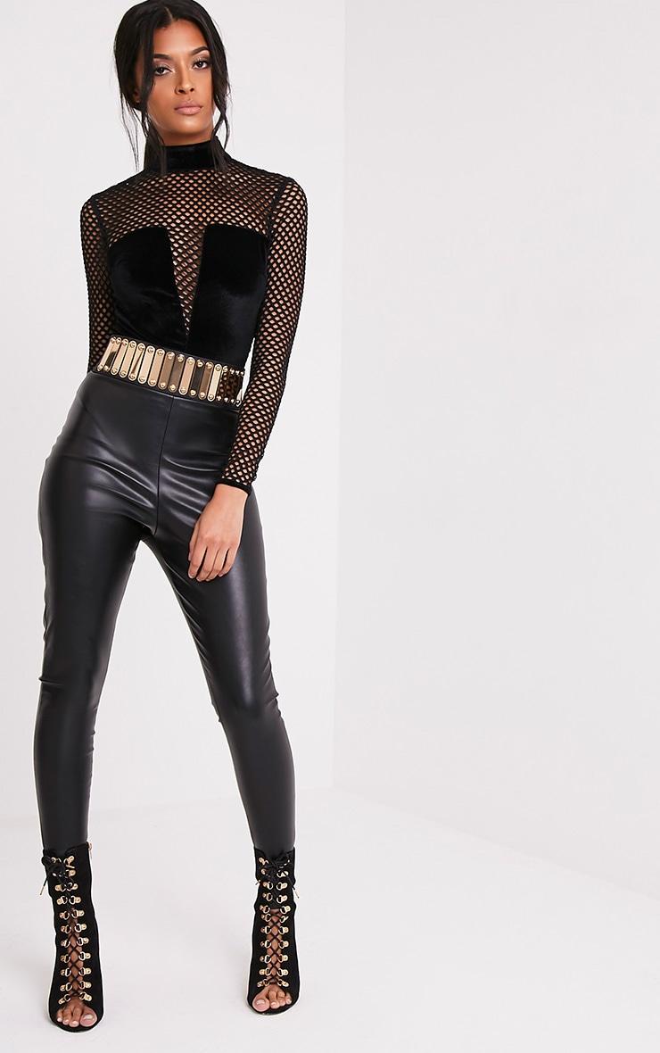 Claudina Black Fishnet Velvet High Neck Thong Bodysuit 6