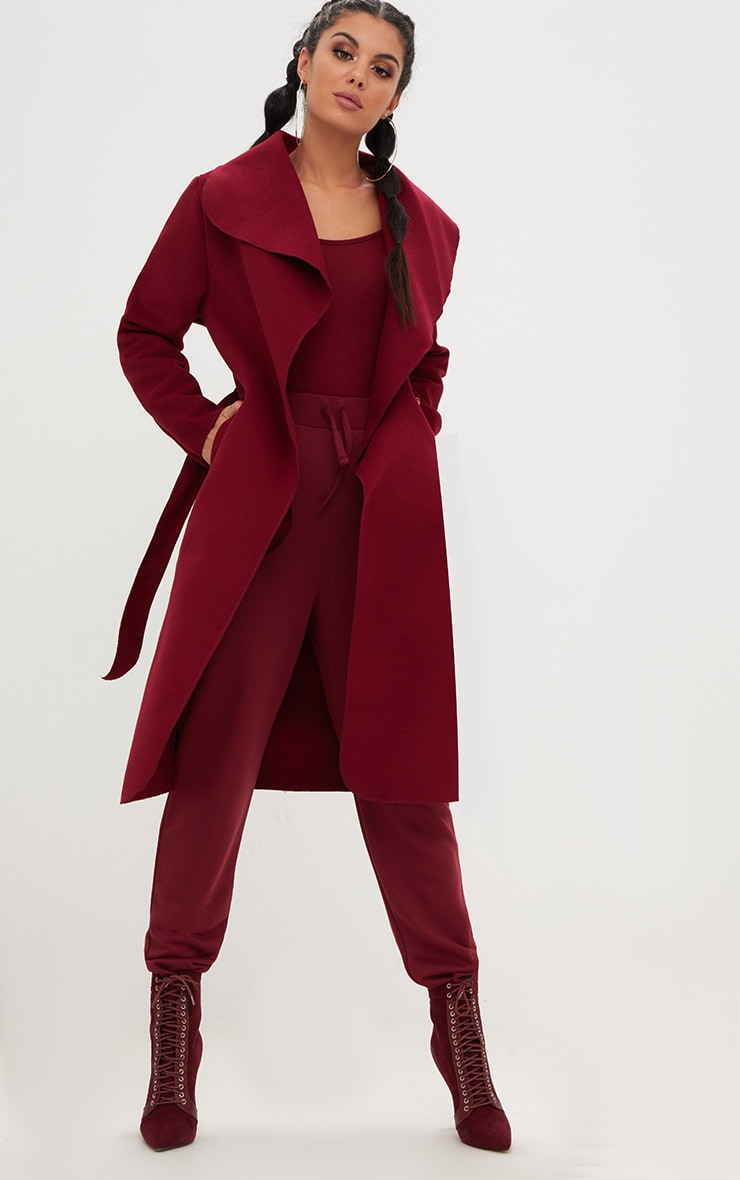 Burgundy Oversized Waterfall Belted Coat 1